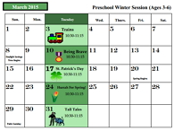 March 2015 Preschool Winter Calendar